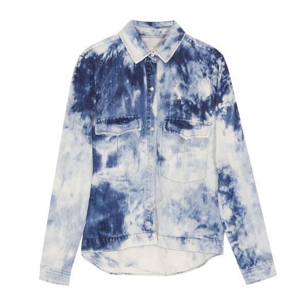 Chemise en denim indigo et bariolée avec pressions, de Zara