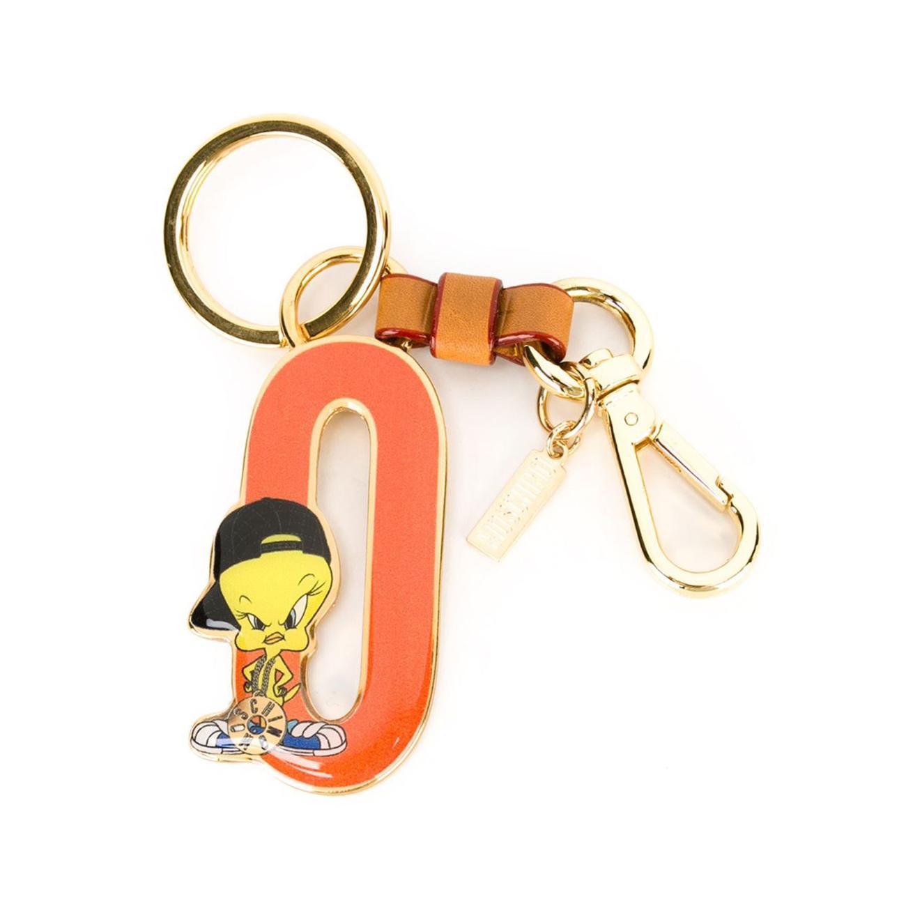 Porte-clés en cuir et métal, de Moschino