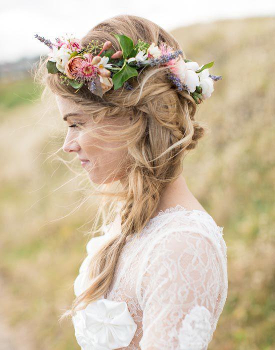 Coiffure de mariage: la tresse sur le côté