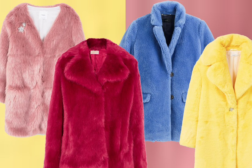 15 manteaux en fausse fourrure colorée