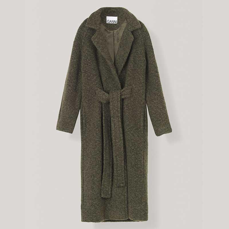 Manteau-ceinturé-en-laine-et-polyester,-Ganni