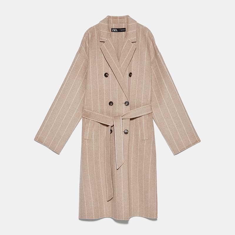 Manteau-ceinturé-en-laine-et-polyester,-Zara