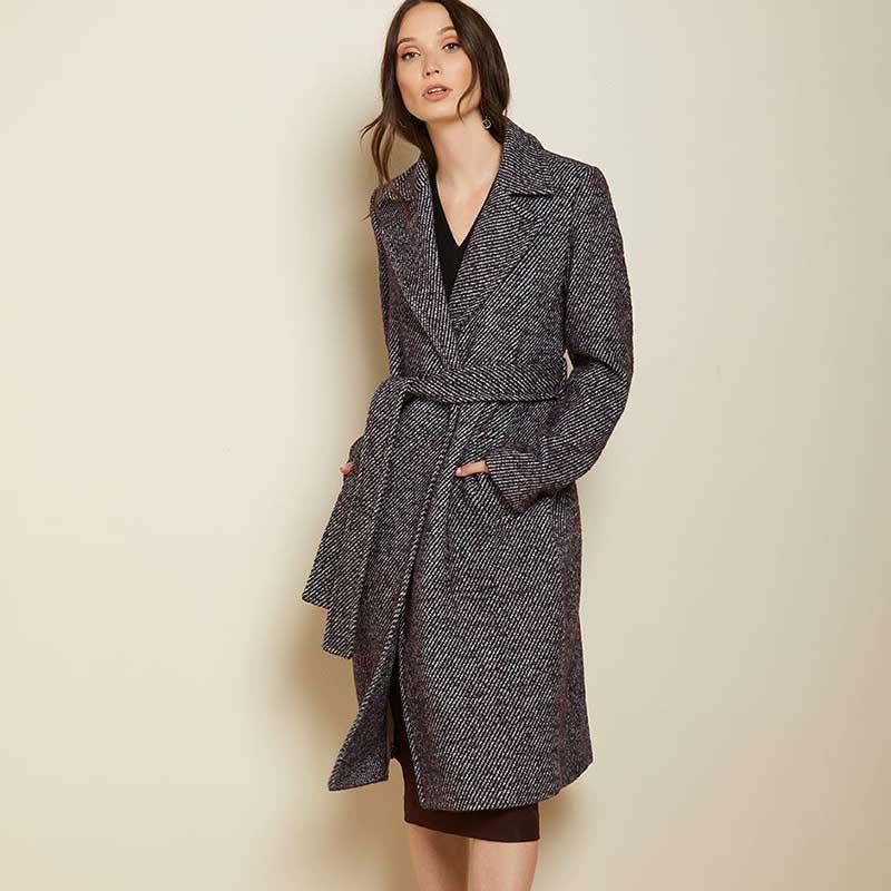 Manteau-ceinturé-en-polyester,-laine-et-acrylique,-RW&CO.