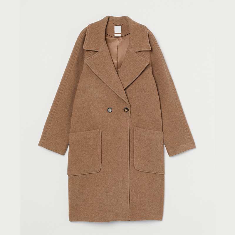 Manteau-en-laine-et-polyamide,-H&M