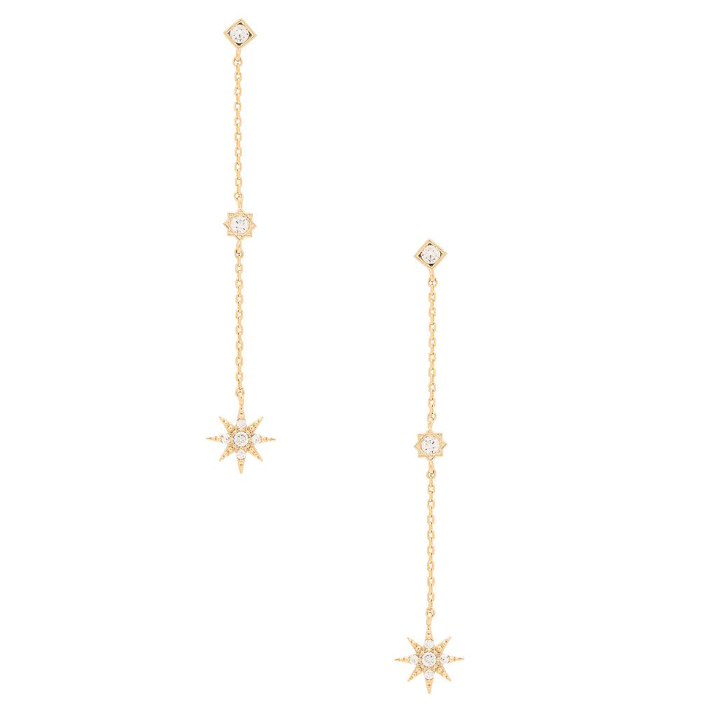 13-Boucles d'oreilles en métal plaqué or 14 ct et zircons cubiques, Child of Wild à Revolve
