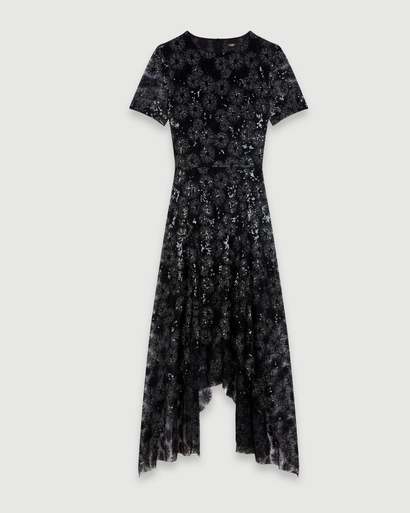 Robe à paillettes en polyester et fibres métallisées, Maje à La Baie