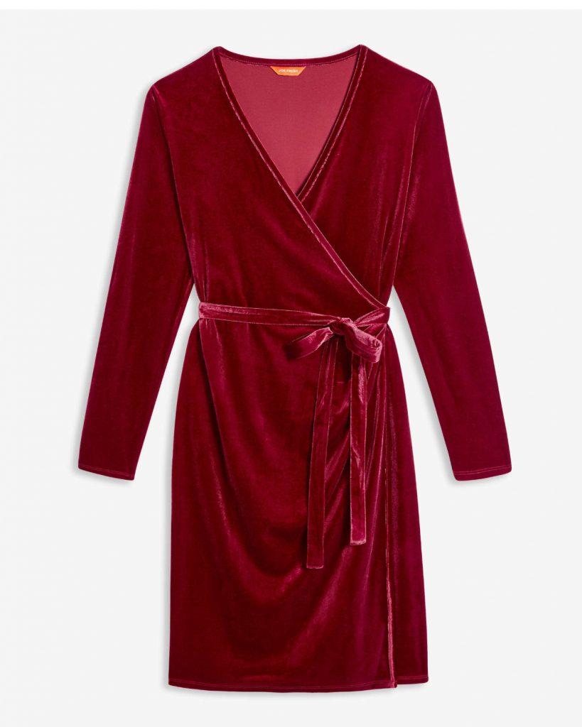 Robe cache-coeur en velours et élasthanne, Joe Fresh