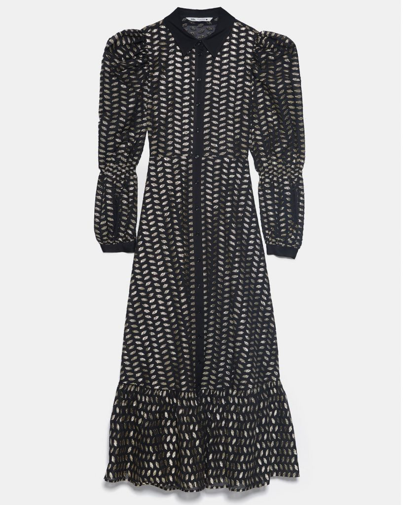 Robe chemise en polyester et fibres métallisées, Zara
