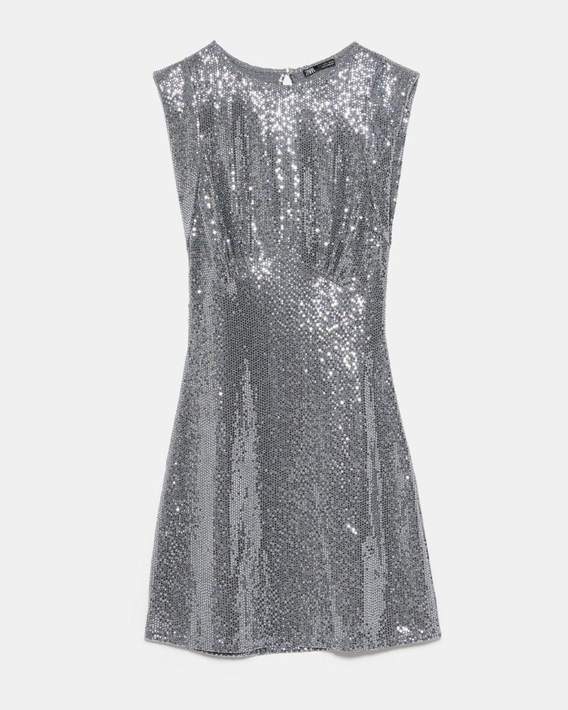 Minirobe à paillettes en polyamide, polyester et fibres métallisées, Zara