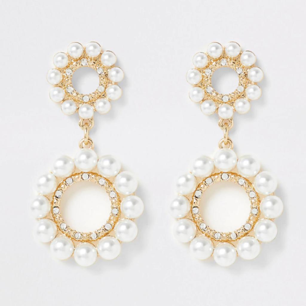 6-Boucles d'oreilles en métal, cristaux et perles synthétiques, River Island