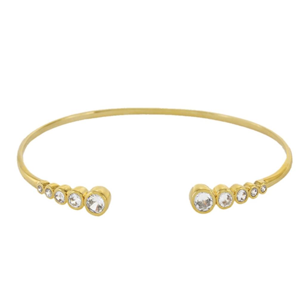 9-Bracelet en métal et cristaux, V de V