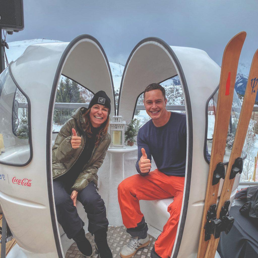Skier avec un champion du monde