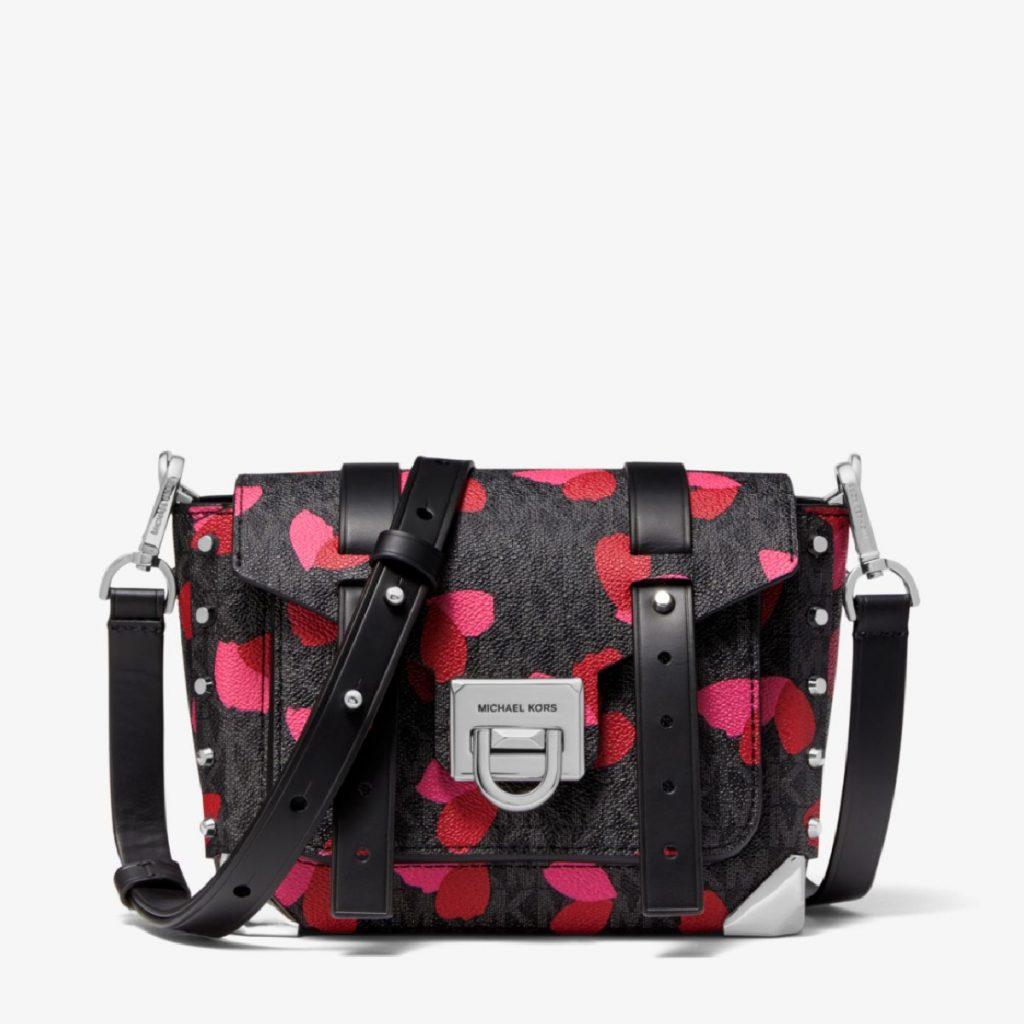 Shopping Saint Valentin Petit sac à bandoulière en cuir et toile enduite Michael Kors