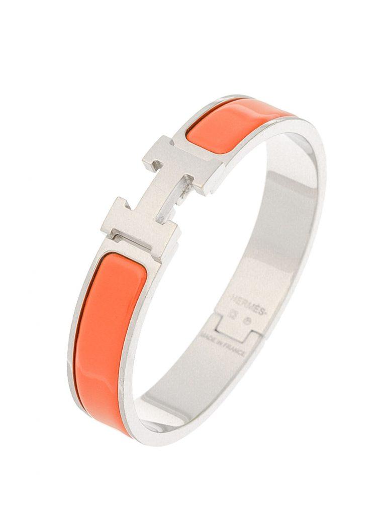 Le bracelet clic H citrouille tangerine argenté Hermès