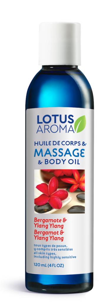 lotus aroma ylang ylang bergamote huile massage