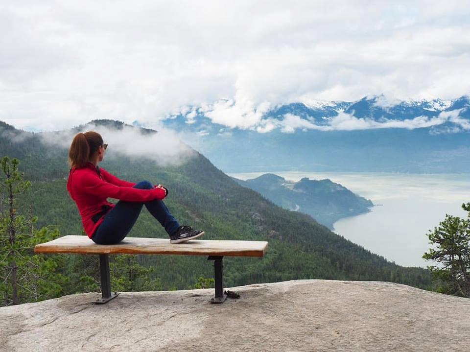 La vue au sommet, après avoir pris la Sea to sky Gondola